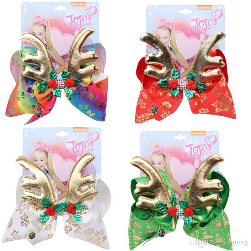 Natale jojo Siwa archi dei capelli dei bambini 6.7inch del grande arco di Natale a stampo arco forcine deformati con trapano ragazza colori Bow Hairpin4
