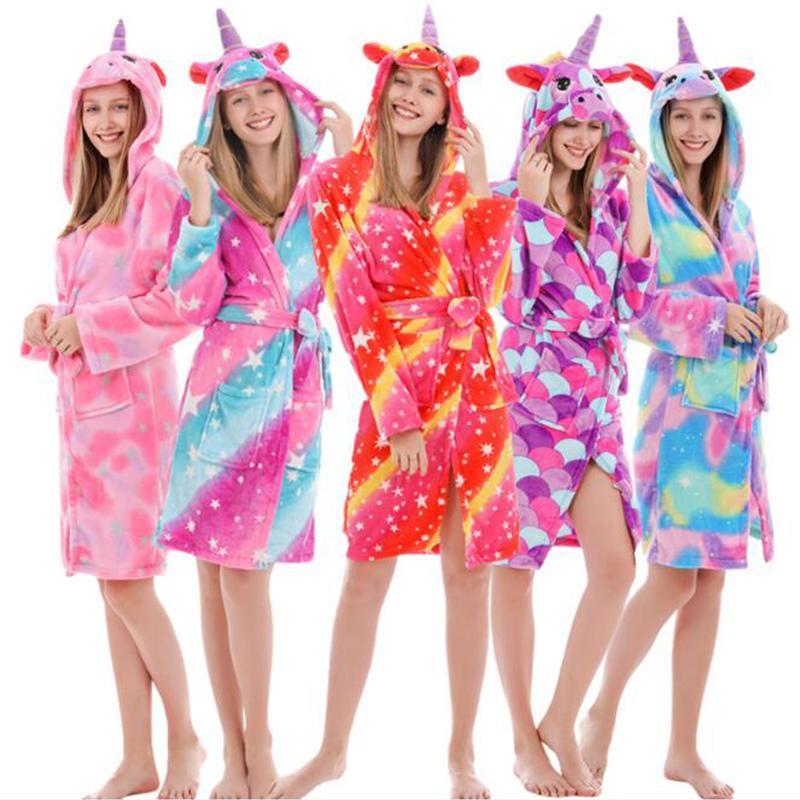 Autumn Winter Adult Women Unicorn Sleepwear Robe Flannel Warm Bathrobe For Girls Teenagers Pajamas For Boys Nightgown Clothes Y200425