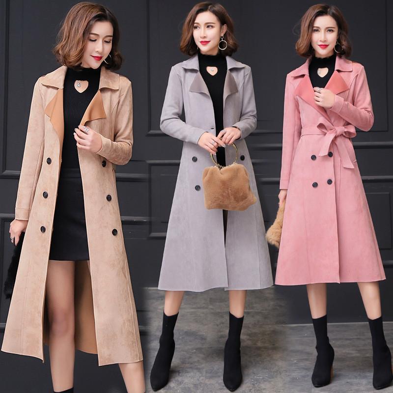 2019 осень новых женщин замша Двойной Брестед Длинные пальто цвета хаки с поясом Классический Повседневный Управление леди Бизнес Outwear M218