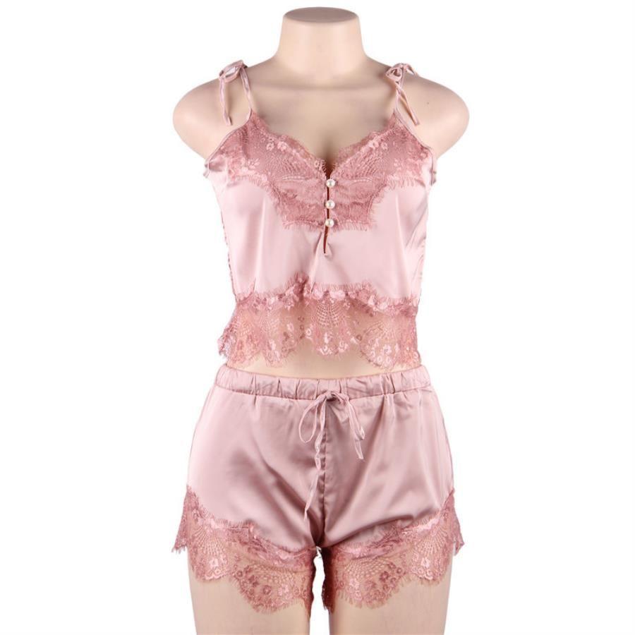30 Robias de lencería de Femmes Langerie Peignoir Pijama Femme Ropa de dormir para mujer Perspectiva Perspectiva de verano Manga corta Capris Ocio Nosotros JPMO