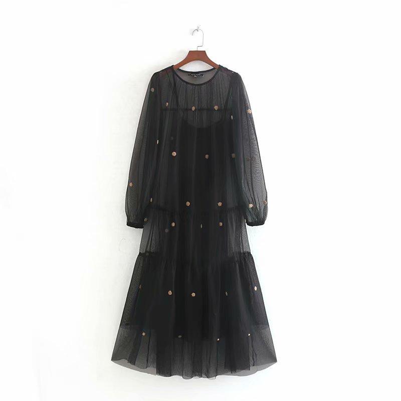 Donne sexy della maglia nera trasparente vestidos volant casuali Vestito longuette signore palla autunno applique decorare abiti dolci DS2879