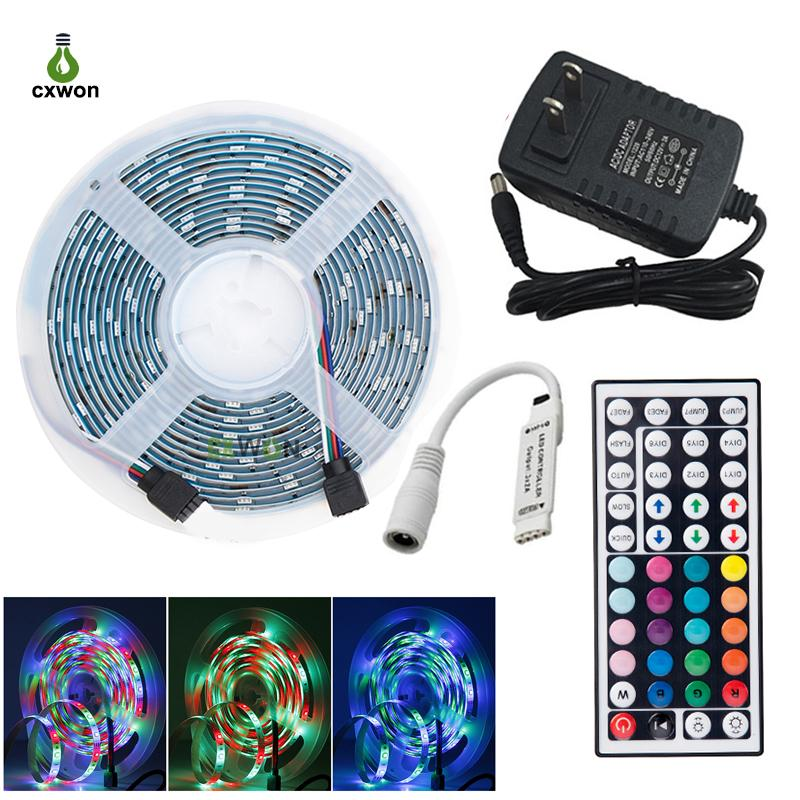 SMD2835 RGB LED شرائط 54LEDS / M 5M 10M RGB أضواء الشريط للماء مع IR 44 مفتاح تحكم ومحول