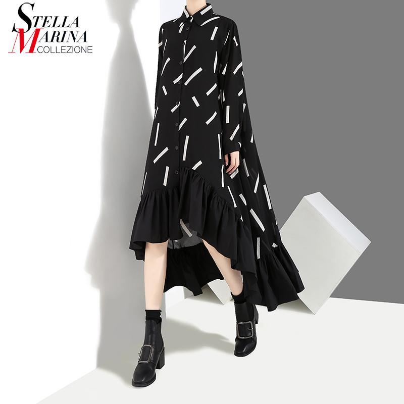 Yeni 2019 Kadın Sonbahar Kış Uzun Siyah Şık Gömlek Elbise Çizgili Baskı Fırfır Uzun Kollu Bayan Zarif Parti Elbise Robe 3907 T190830