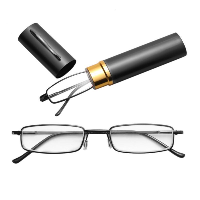 1PC Unisex Metal Stainless Steel Frame Resin Reading Glasses +1.00-+4.00 Strength Spring Hinge With Tube Case Resin Eyeglasses