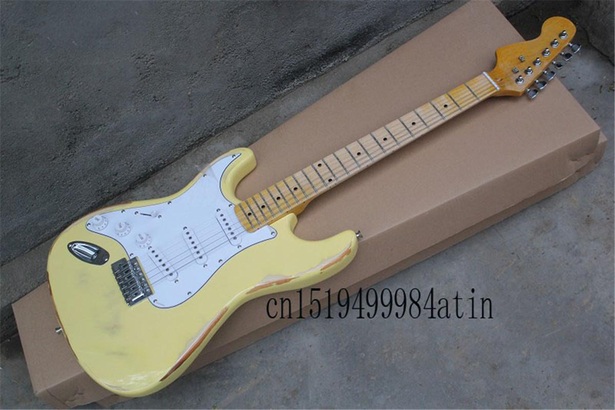 Верхнее качество F Stratocaster с синхронизированной Имитацией старой Желтой Подпись левшой Электрогитары