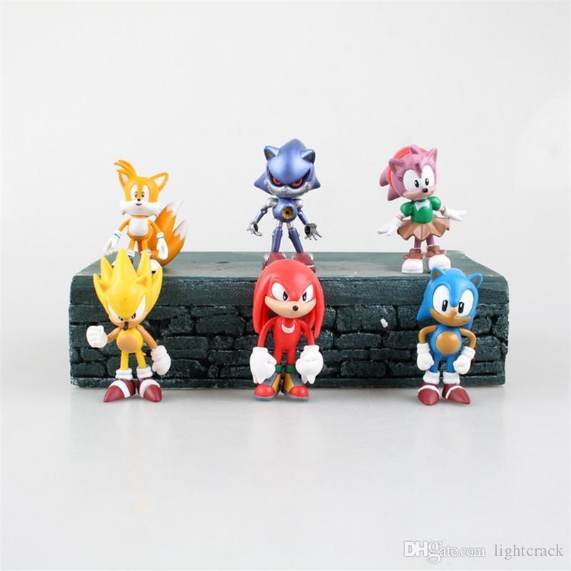 Sonic Boom Amy Rose Sticks Tails Werehog PVC Figuras de acción Nudillos Dr. Eggman Anime Pop Figuras Muñecas Juguetes para niños para niños