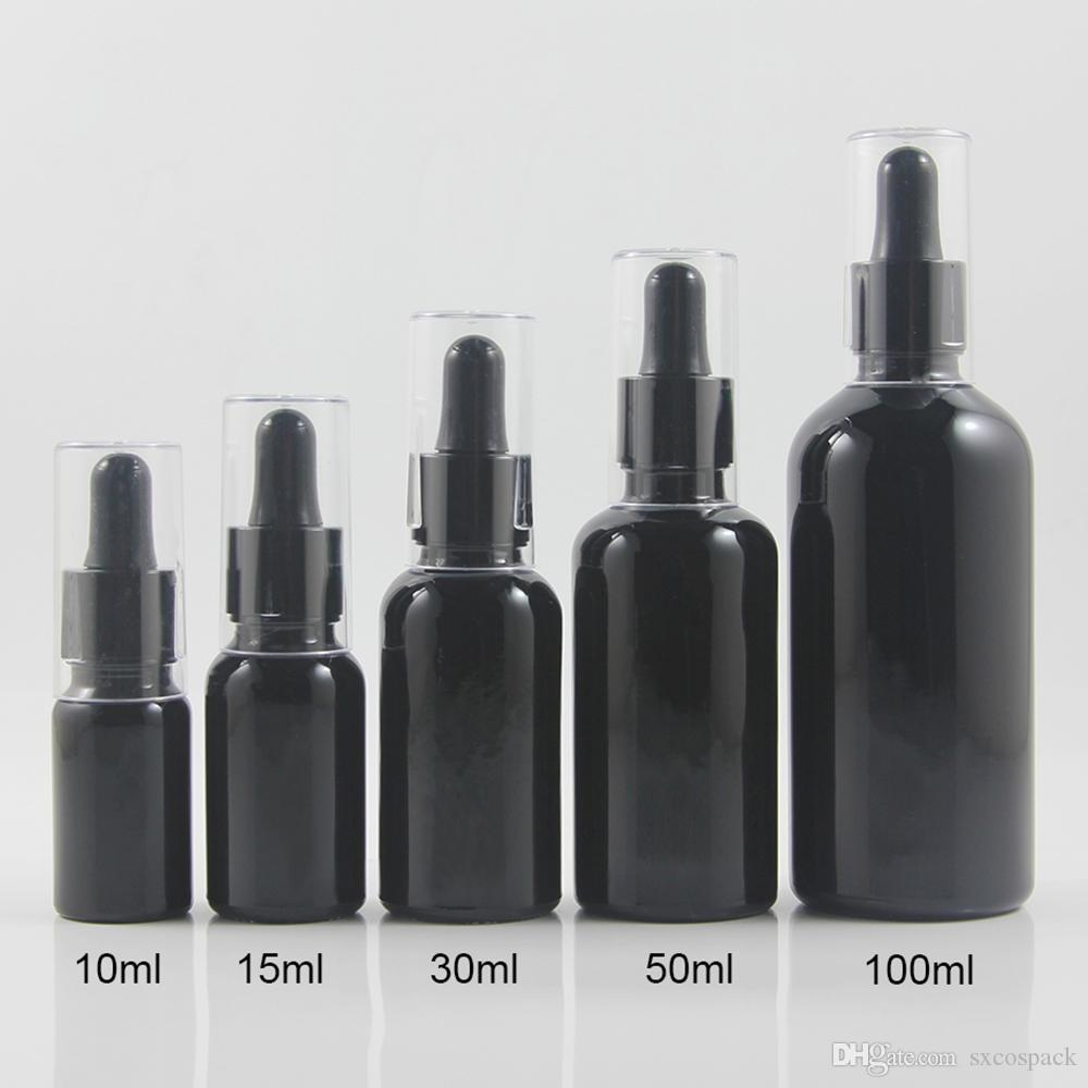 Travel 10ml mini glass oil bottle black/frosted black dropper bottle container with clear cap 100pcs