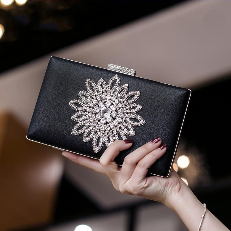 Luxy Moon White Clutch-Bag Frauen-Abend-Kupplungs-Handtasche Sun-Blumen-Kristall Hochzeit Geldbeutel für Braut Schwarz Schulter ZD1525