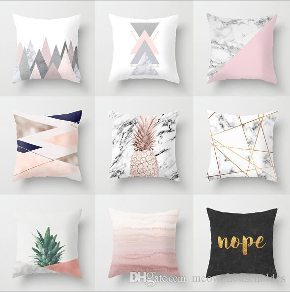 Pillow Case Pink geome Geometric Pineapple Glitter Polyester Sofa Decorative Cushion Cover for Home Decor 45x45cm Yellow peach velvet pillows