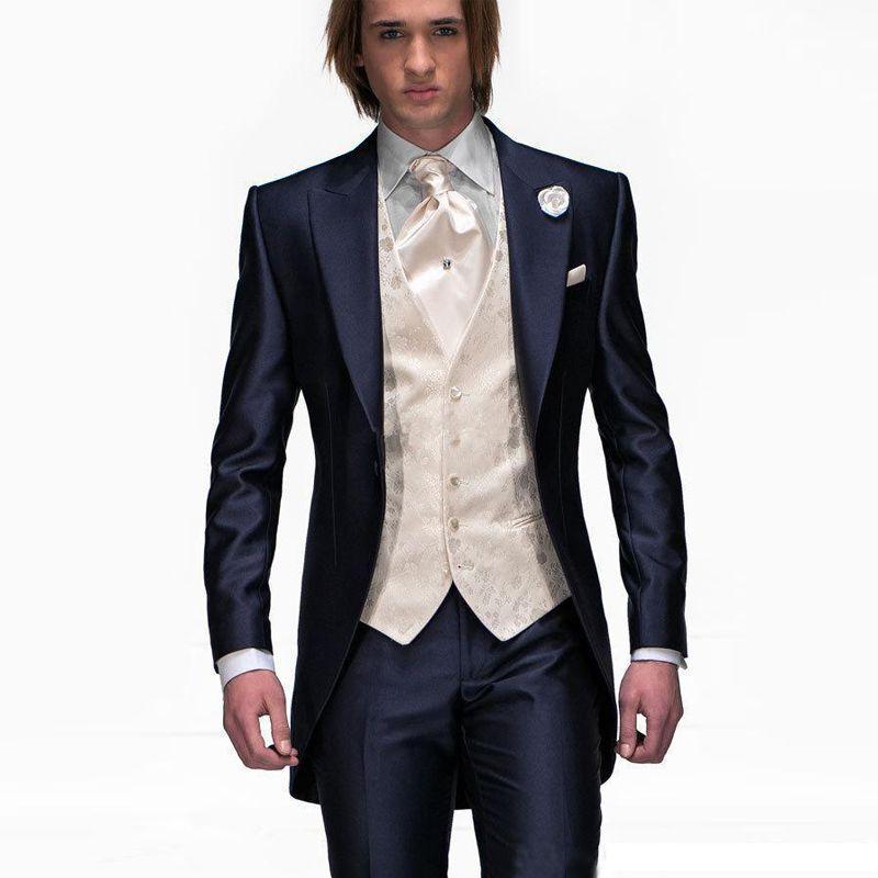 Yeni Lacivert Özel Adam Düğün için Erkek Damat Smokin 3 Parça Ceket + Pantolon + Yelek İyi Adam Sağdıç Suit