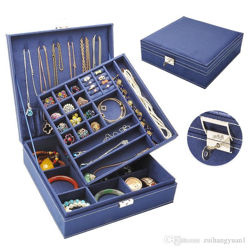 Große Meistverkaufte Mode Flanell Platz Schmuckschatulle Einfache layout 2 Schichten make-Up Organizer choker Ring Halskette Aufbewahrungsbox