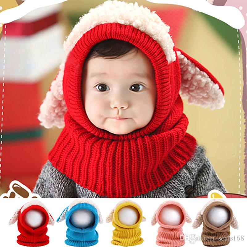 Baby Crochet Warm Hats Cap Kids Girls Boys Knit Woolen Yarn Caps With Shawl Scarf Beanie Hats Xmas Party Hats Supplies HH9-2448