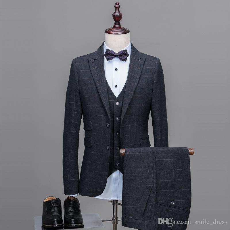 Özel Yapılmış Iki Düğme Glen Ekose Damat Smokin Groomsmen Peacked Yaka Erkekler Için En Iyi Adam Düğün Takımları (Ceket + Yelek + Pantolon)