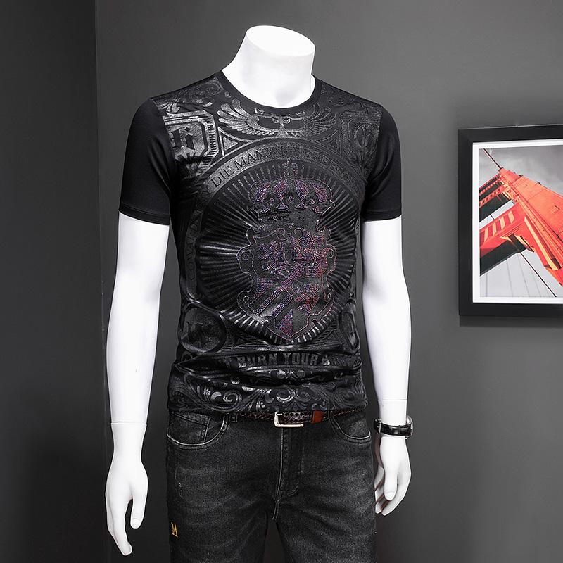 Футболка с короткими рукавами мужская личность печати прилив бренд 2020 летняя корона горячая Алмазная мода мужская рубашка с полукруглыми рукавами топ