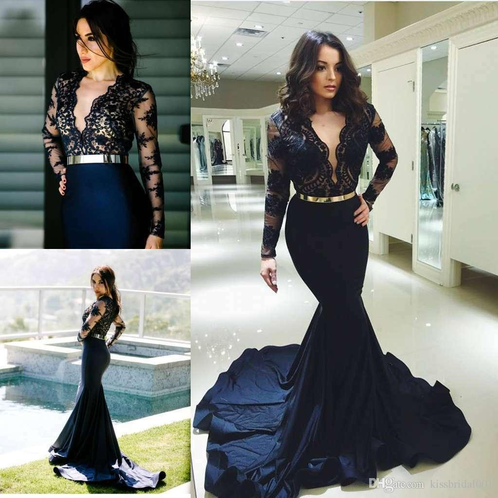 Mermaid V Neck Long Sleeve Prom Dresses 2019 Sheer Lace Navy Blue Formal Evening Gowns Cheap Black Girls Sweet 16 Dress Cocktail Party Gown Tea Length