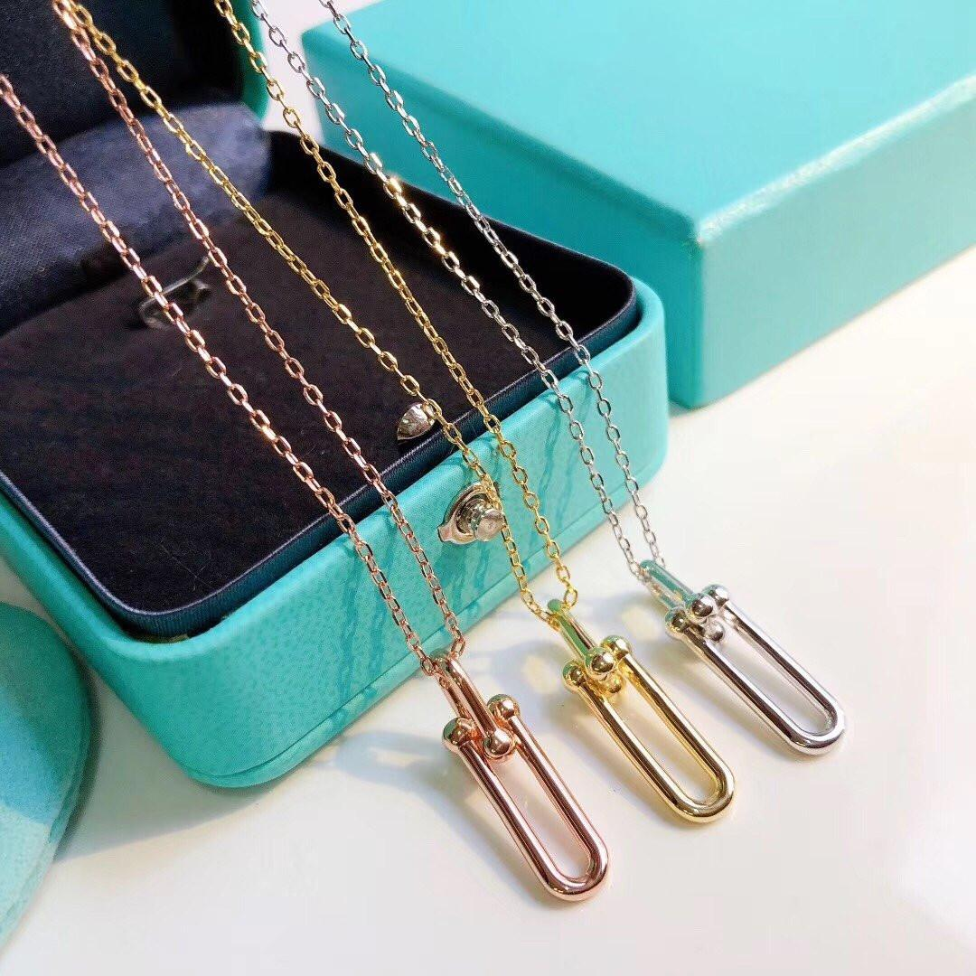 925 스털링 실버 대형 레이디를위한 작은 반지 목걸이 간단한 패션 스타일 실버 펜던트 목걸이 파인 쥬얼리