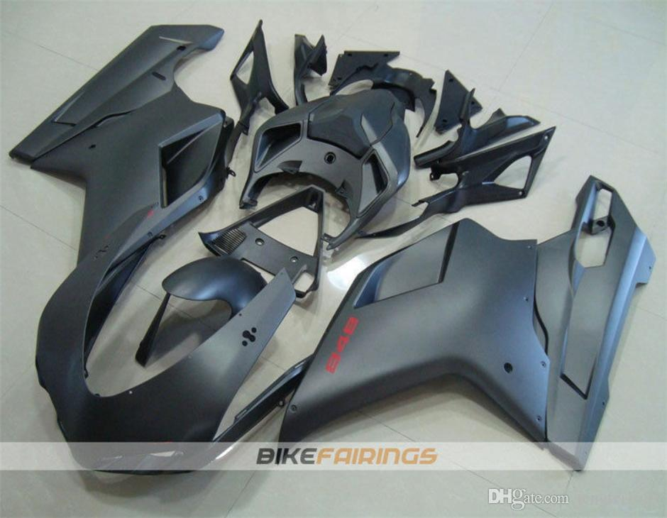 High quality ABS Motorcycle fairing Kits For DUCATI 848 1098 1198 2007 2008 2009 2010 2011 2012 Free custom Black Matte