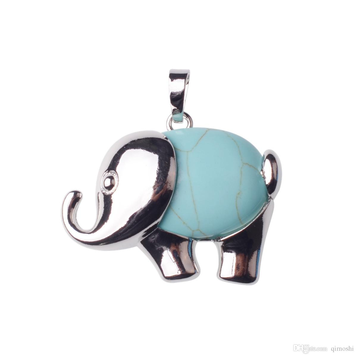 Alloy Elephant Gemstone Pendant Men and Women Old and New Year Easter Gifts Fashion Valentine's Day Gift Necklace