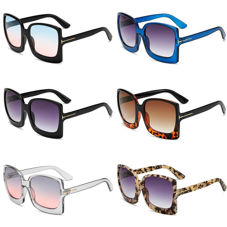 Gafas de sol de gran tamaño del marco de la moda de las mujeres cuadrado grande de la tapa plana del remache siameses Gafas de sol Mujer Hombres espejo de la vendimia sombras de la pendiente Uv400 # 27208