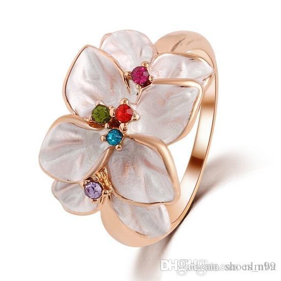 Nlm99 Belle Donne Accessori dolce Oro - Colore Beige opale fiore Anello Vantage Monili Delle Signore