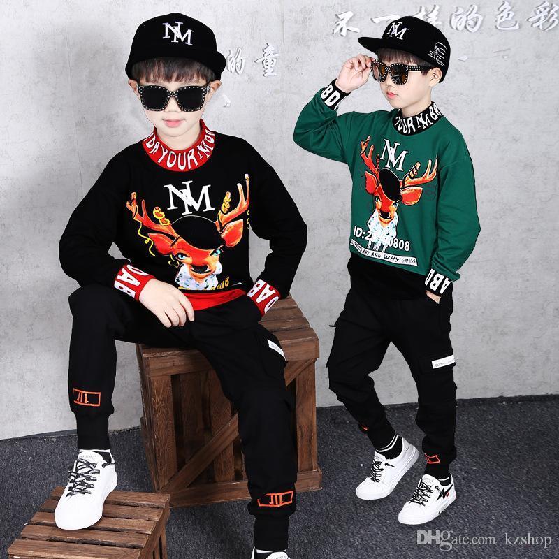 Erkek Giyim Suit Uzun kollu kazak Casual İlkbahar ve Sonbahar Çocuk Yuvarlak Yaka Uzun kollu tişört + Hip-hop Pantolon Sweatshirt 2