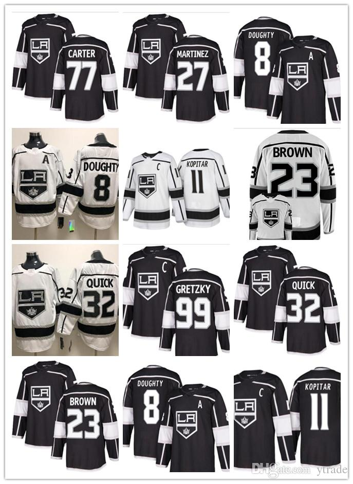 Mens 11 Anze Kopitar nuevos jerseys Los Angeles Kings 32 Jonathan Quick 8 Drew Doughty 99 Wayne Gretzky del hockey jerseys cosido Negro Blanco