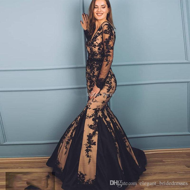 2019 Evening Dresses Deep V-neck Long Sleeves V Cut Back Mermaid Prom Dresses Appliques Bead Sequined Formal Party Gowns