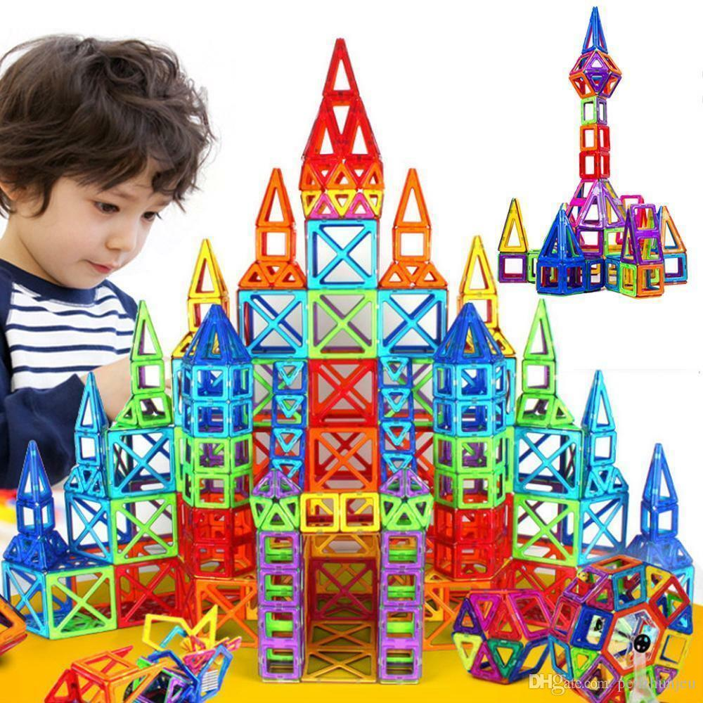 110 PCS 3D Magnetic Building Tiles Sets Block Kids Construction Educational Toy