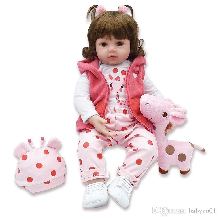 Silikon-Reborn-Baby-Naturgetreue 47cm Kleinkind Baby Bonecas Kinder Puppe Bebes Reborn Brinquedos Puppen Spielzeug für Kinder Geschenke