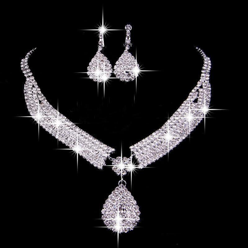 Hot Selling Wedding Bride Jewelry Sets Necklace Earrings Two Pieces Wedding Party Accessories Earclip Banquet Women Jewelry