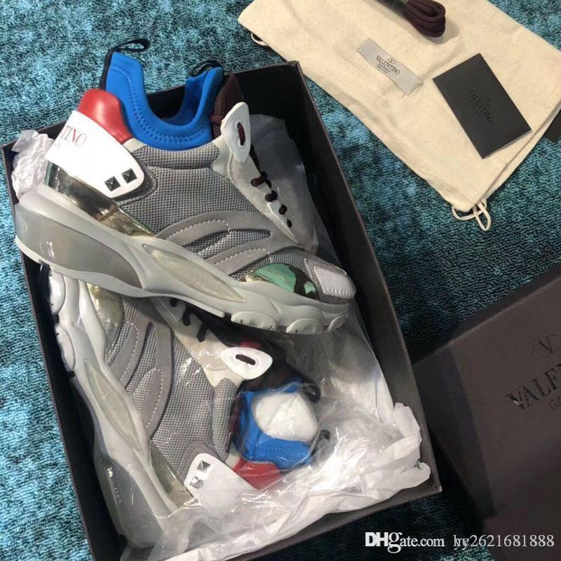 Sapatos de grife Low-top sneakers Calfskin Sapatos à moda antiga Pintados à mão Logo impressões Made in Italy Sapatos masculinos da mais alta qualidade 2019 ne