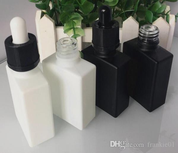 Дешевый 30мл Vape й жидкость пустых бутылки черного квадрат капельница стеклянного плоские бутылки с белыми красными фиолетовыми коричневых цветами восковых капельниц колпачков