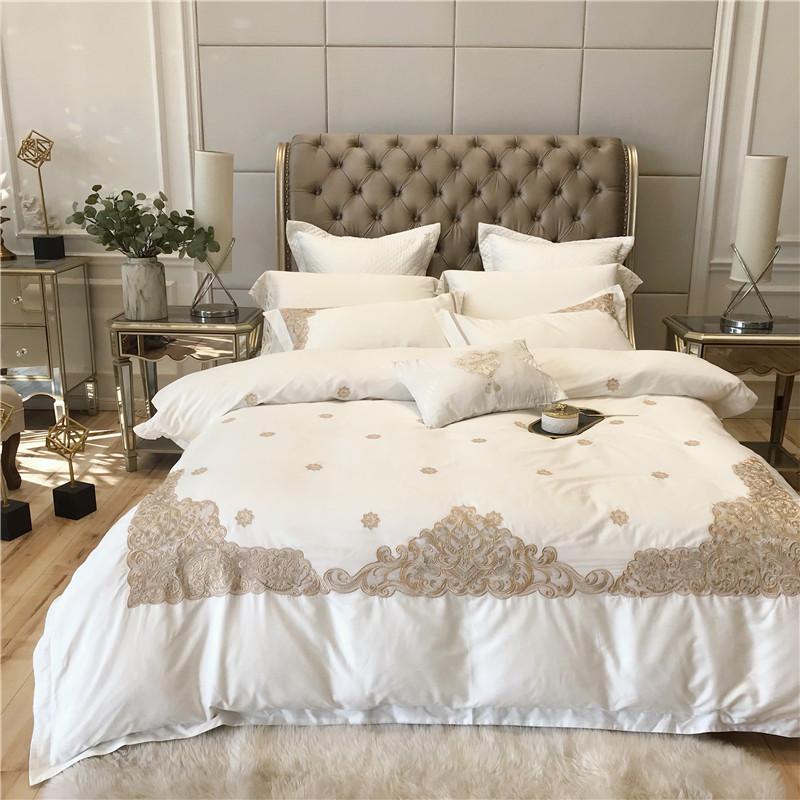 Luxus-Weiß Bettwäsche König Queen Size 04.01 / 6pcs Bettwäsche aus ägyptischer Baumwolle Bettbezug Bettlaken Set Kissen-