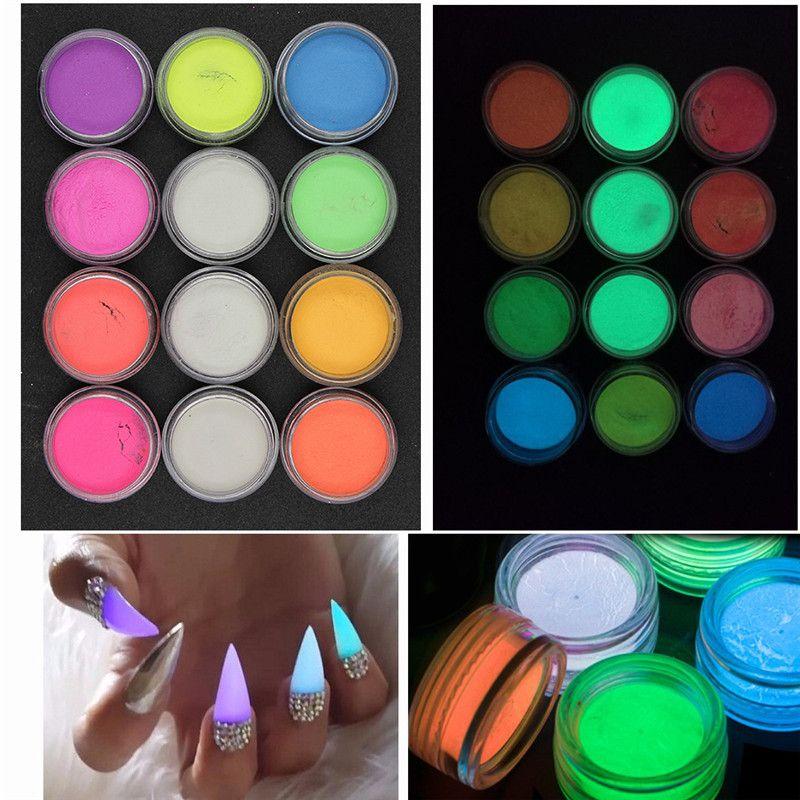 12 Unhas de Cor Luminosa Brilho Em Pó Ultrafino Brilho no Escuro DIY Nail Art Decoração Fluorescência Efeito Ferramenta Prego