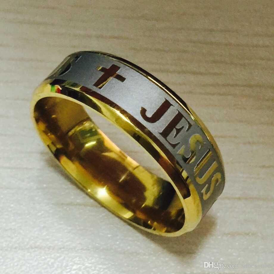 2018 hohe qualität große größe 8mm 316l titanium stahl 18 karat silber vergoldet jesus kreuz brief bibel hochzeit band ring männer frauen