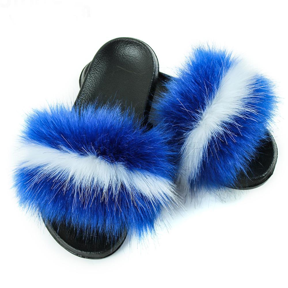 1pairs / 2pcsWomen Faux della pelliccia di Fox pantofole Fluffy pelliccia di procione diapositive Lady Fashion Falt non di slittamento Flip Flops peluche Beach sandali estivi Calzature