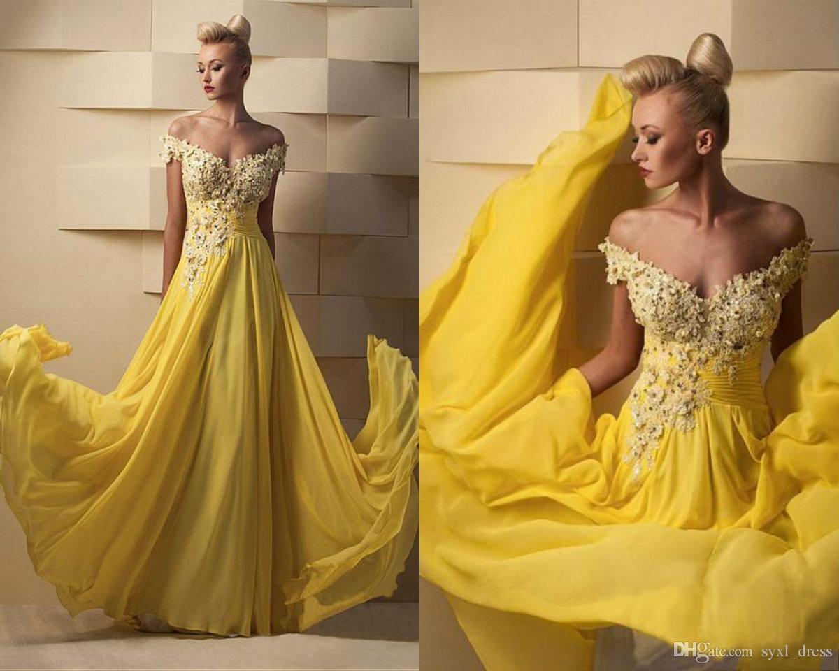 Plus Size Long Chiffon Yellow Prom Dresses 2019 Special Occasion Dress  Vestidos De Soiree Evening Party Gowns Vestido De Novia Floor Length  Evening ...