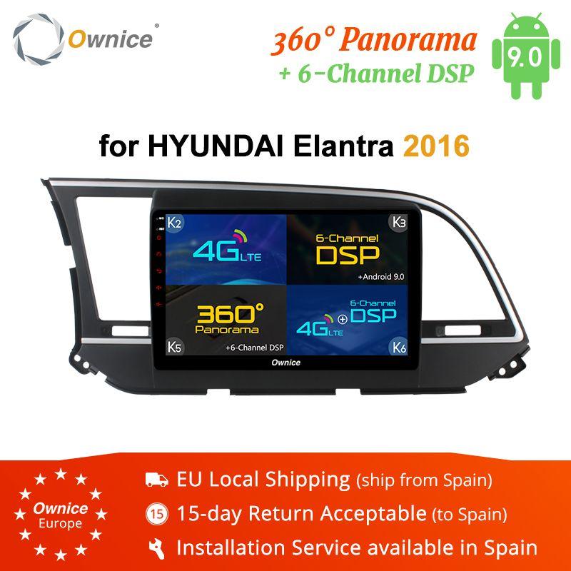 Ownice 자동차 라디오 플레이어 9 '엘란트라에 대한 2016 2019 K5 K6 GPS 네비게이션 안드로이드 9.0 옥타 (8) 코어 4G LTE 62기가바이트 360 파노라마 DSP 자동차 DVD