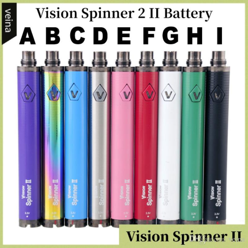 Visão Spinner 2 II Bateria 1650 mAh Ego Evod C Torção Variável Tensão VV 3.3-4.8 V vision2 Bateria Para 510 Rosca E Cigs Atomizador