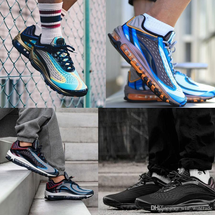 2019 Hot 99 Designer Midnight Navy Laser Maxes Orange Running Shoes Deluxes Men Skepta Og Negro Azul Tamaño 7-11