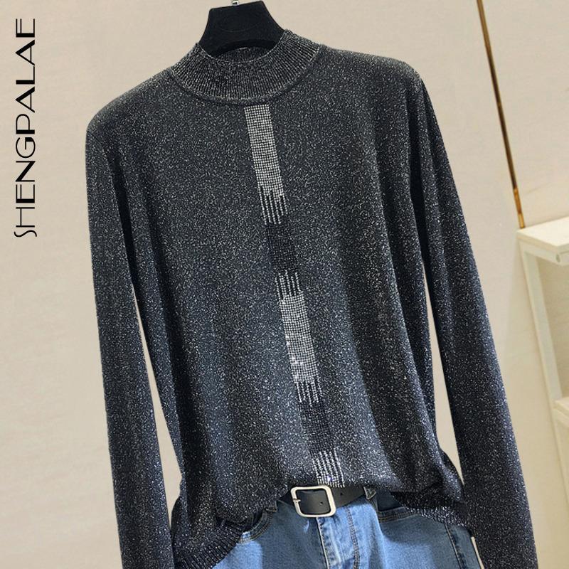 SHENGPALAE 2020 Spring Slim Vintage Women Blouse High Waist Casual Style Half High Collar Rhinestone Loose Silk Shirt Top 2754