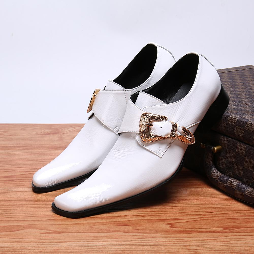 Sapato Masculino Handmade High Quality Italian Shoes Men White Genuine Leather Male Dress Shoes Buckle Strap Party Wedding
