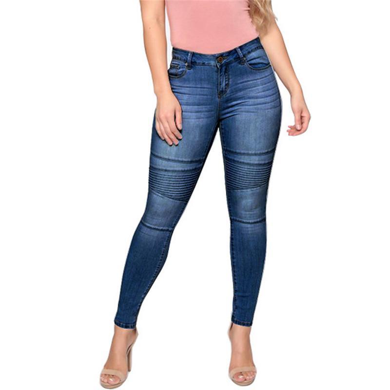 High Waist Jeans Boyfriends Stretch Pant Jeans Women Plus Size Leggings Casual Skinny Slim Denim Fitness Pants Trousers E17