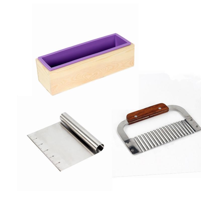 Jabón de silicona del molde del molde rectangular Kit Pan con la caja de madera, 2 piezas de jabón cortador inoxidable para CP y MP que hace fuentes