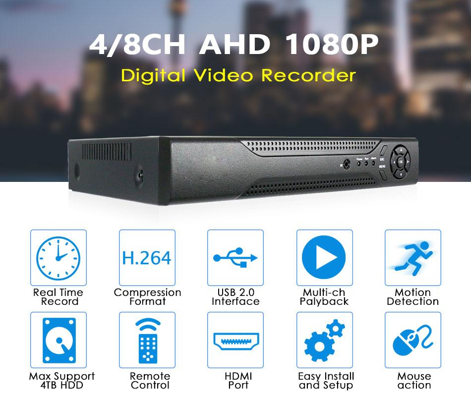 Home DVR Recorder 1080P Hybird CCTV Recorder 4CH DVR For AHD/Analog Cameras P2P Support mobile phone view