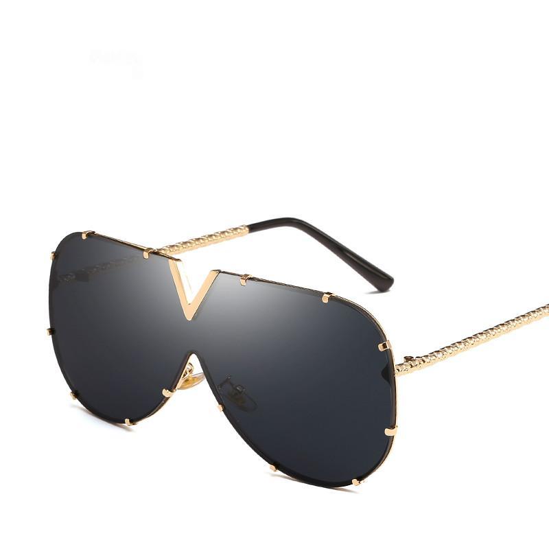 2019 Óculos Homem Marca designer de alta qualidade extragrandes óculos de sol para as mulheres Sunglass do metal UV400 Espelho