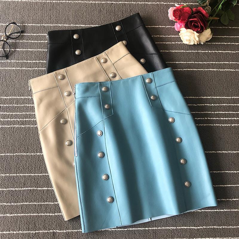 couro mini saias da Europa e América mulheres de alta qualidade pele de carneiro A988 couro verdadeiro A-linha saias