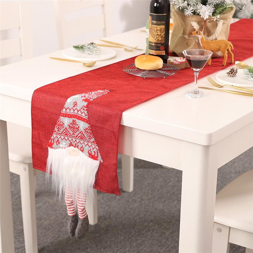 New Year Table mat Christmas Table Runners 180*33cm Santa Claus Christmas Tree Runner Cloth Cover for Home Decoration