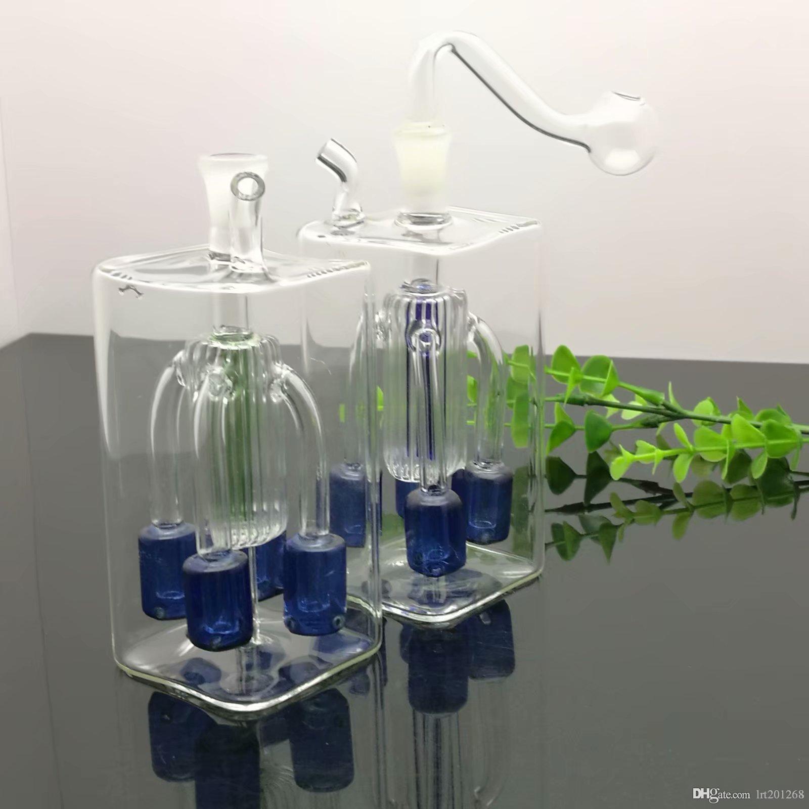 Quadrate-tubo de quatro garra cigarro filtro de vidro em silêncio chaleira de vidro Bongs Oil Burner Pipes tubulações de água plataformas petrolíferas fumadores frete grátis