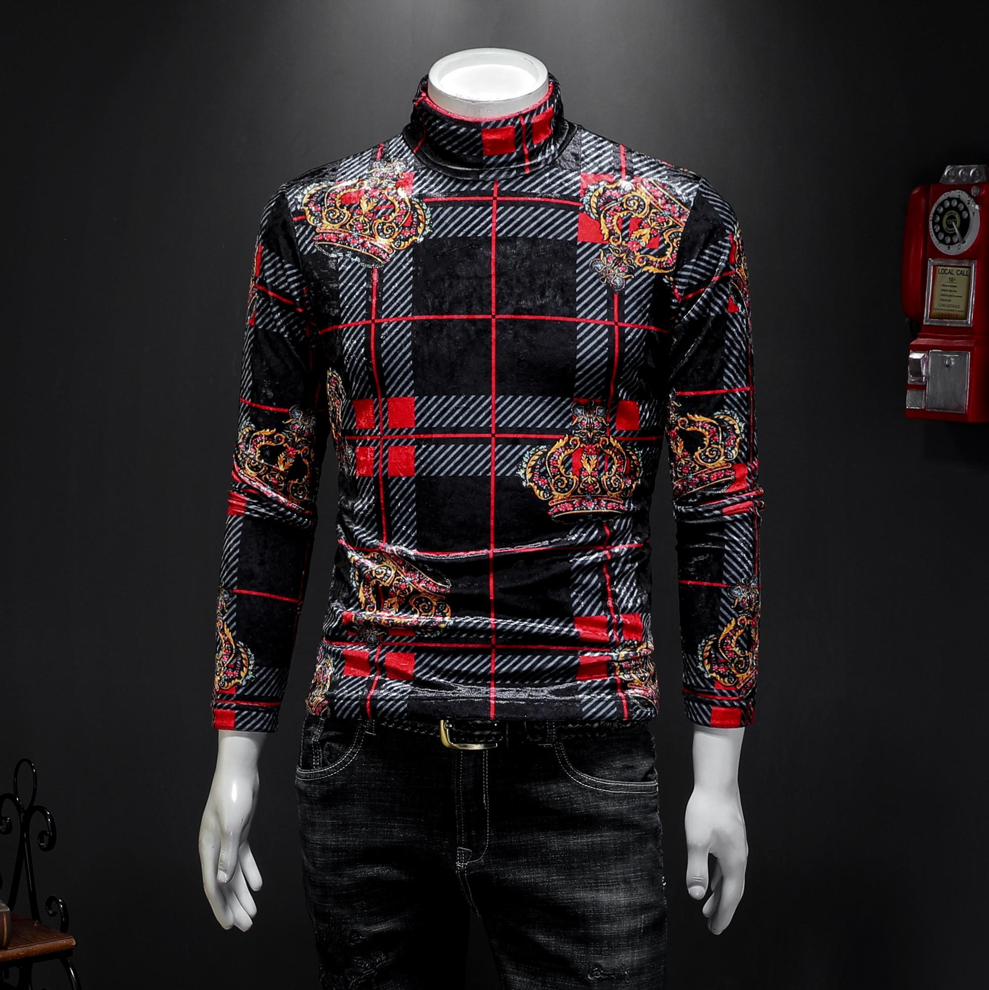 Мужская плюс Размер Плюс бархат толстые с длинными рукавами тенденция футболка 2019 новый свободный эластичный корейский бархат высокий воротник клетчатая рубашка